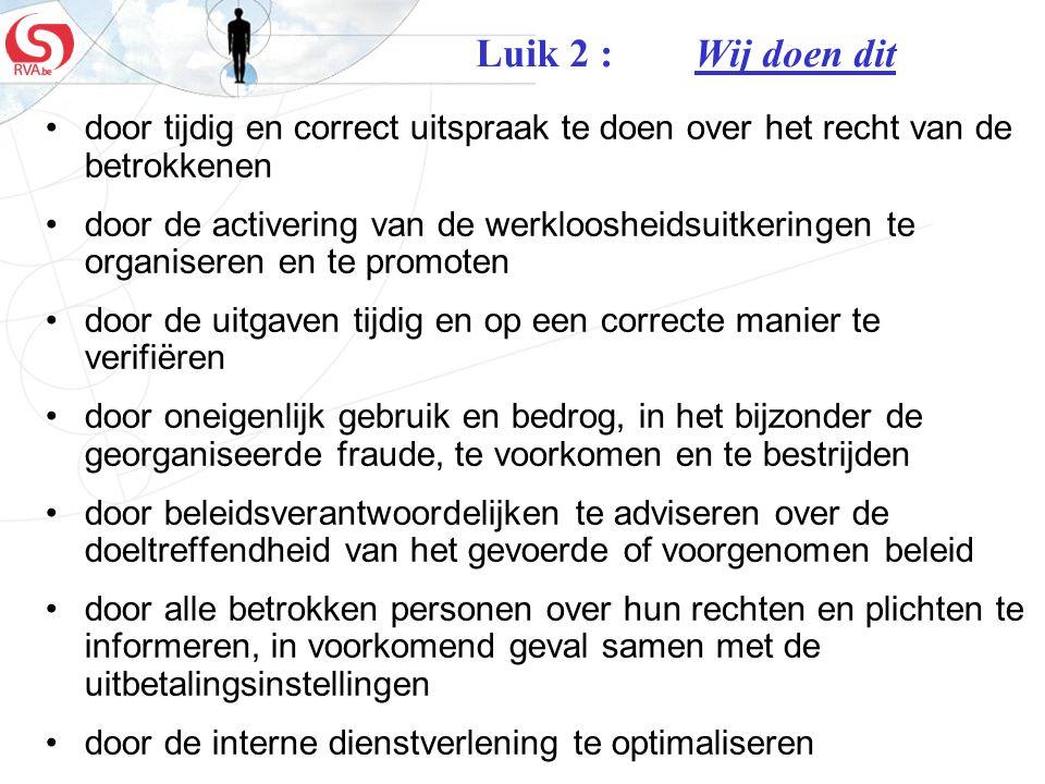 Luik 2 : Wij doen dit door tijdig en correct uitspraak te doen over het recht van de betrokkenen.