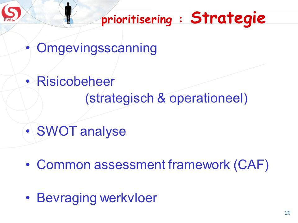 prioritisering : Strategie