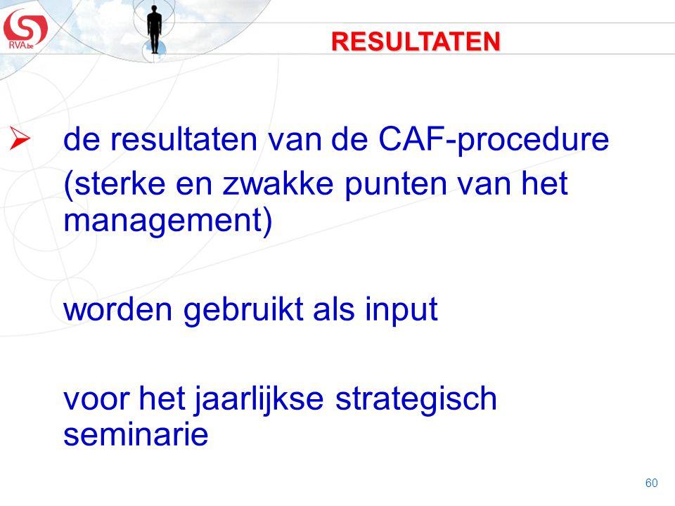 de resultaten van de CAF-procedure