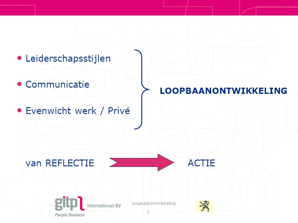Leiderschapsstijlen Communicatie Evenwicht werk / Privé