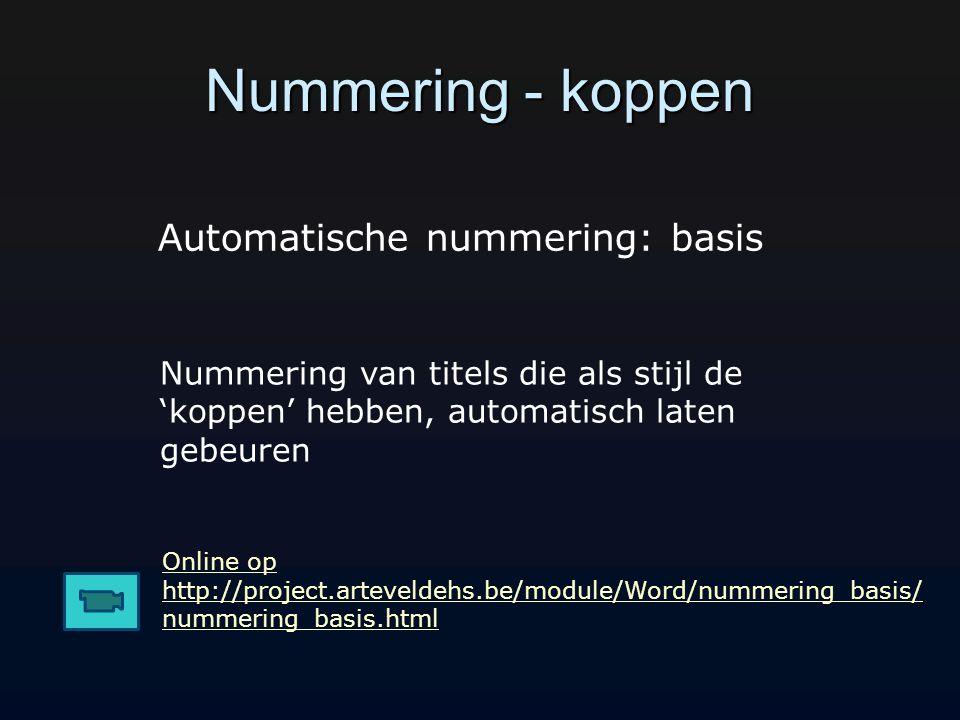 Nummering - koppen Automatische nummering: basis
