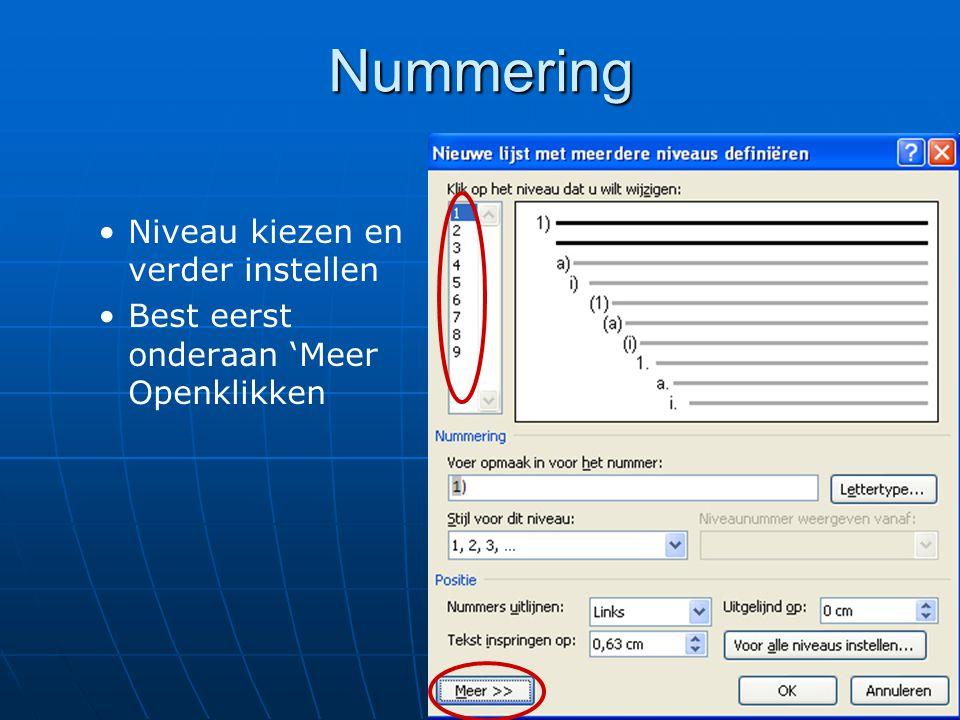 Nummering Niveau kiezen en verder instellen