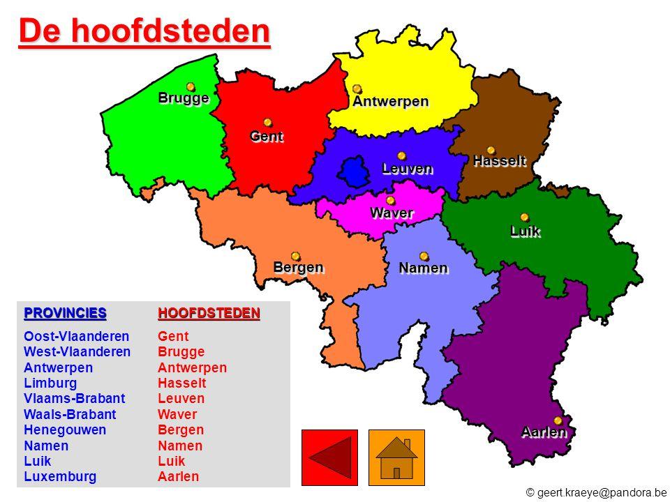 De hoofdsteden Brugge Antwerpen Gent Hasselt Leuven Waver Luik Bergen