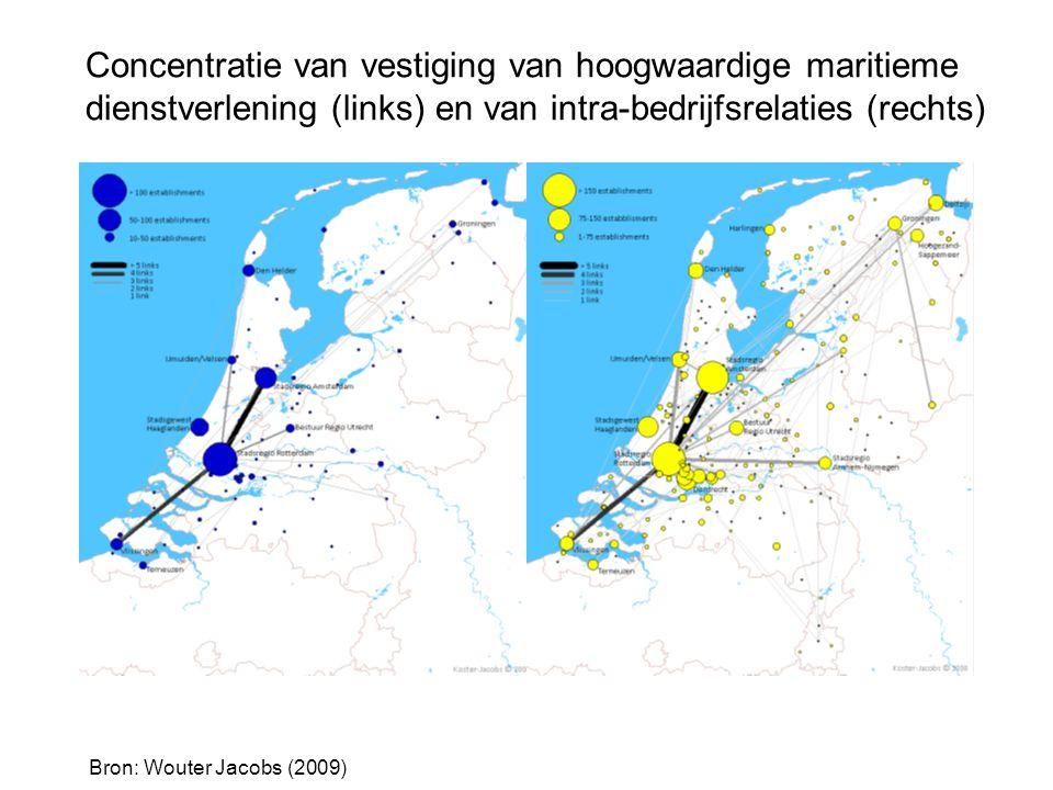 Concentratie van vestiging van hoogwaardige maritieme dienstverlening (links) en van intra-bedrijfsrelaties (rechts)