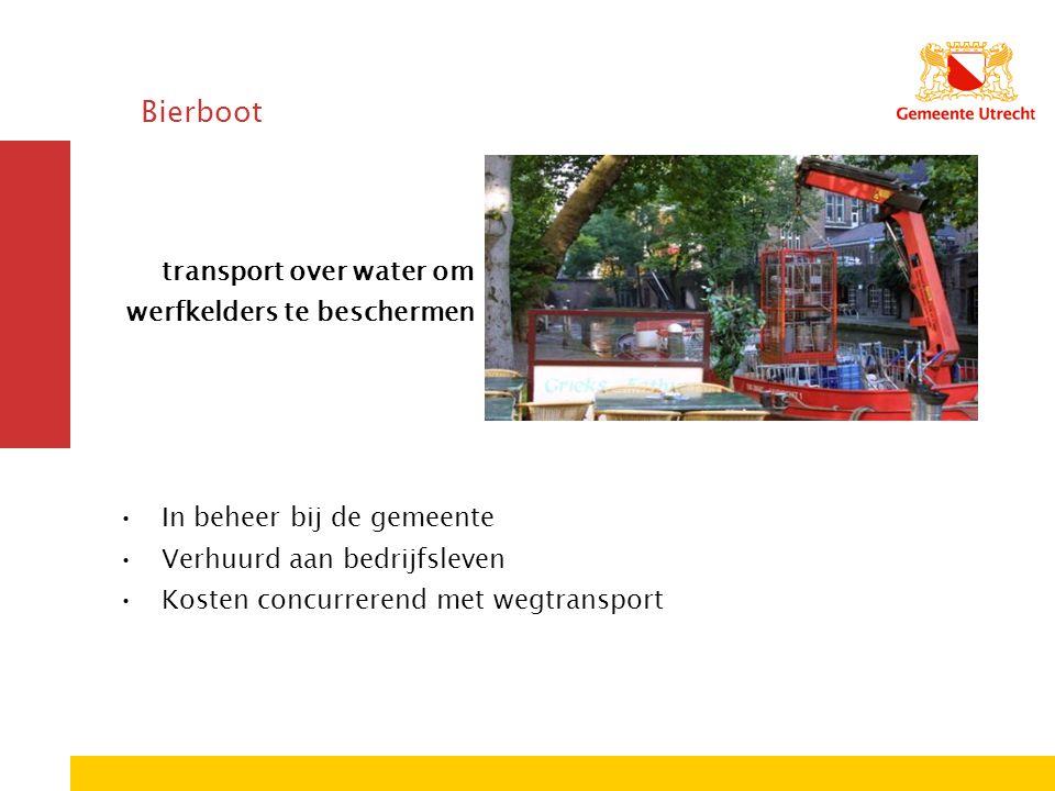 Bierboot transport over water om werfkelders te beschermen