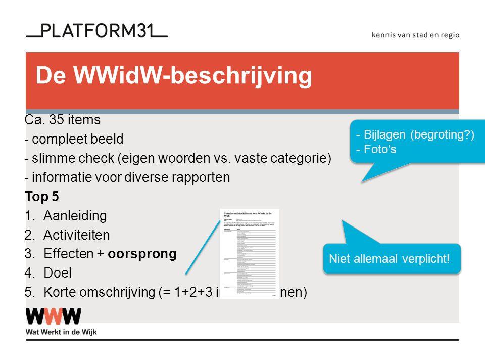 De WWidW-beschrijving