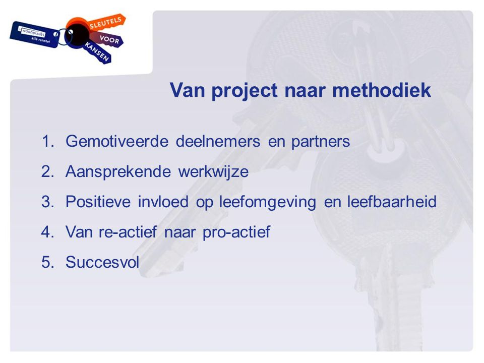 Van project naar methodiek