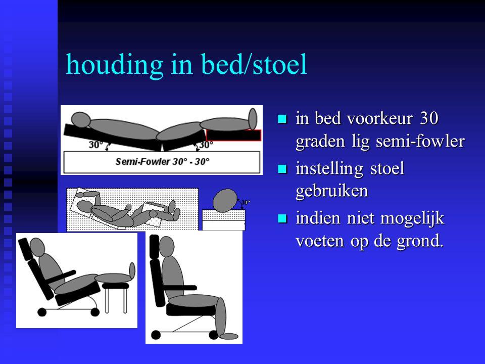 houding in bed/stoel in bed voorkeur 30 graden lig semi-fowler