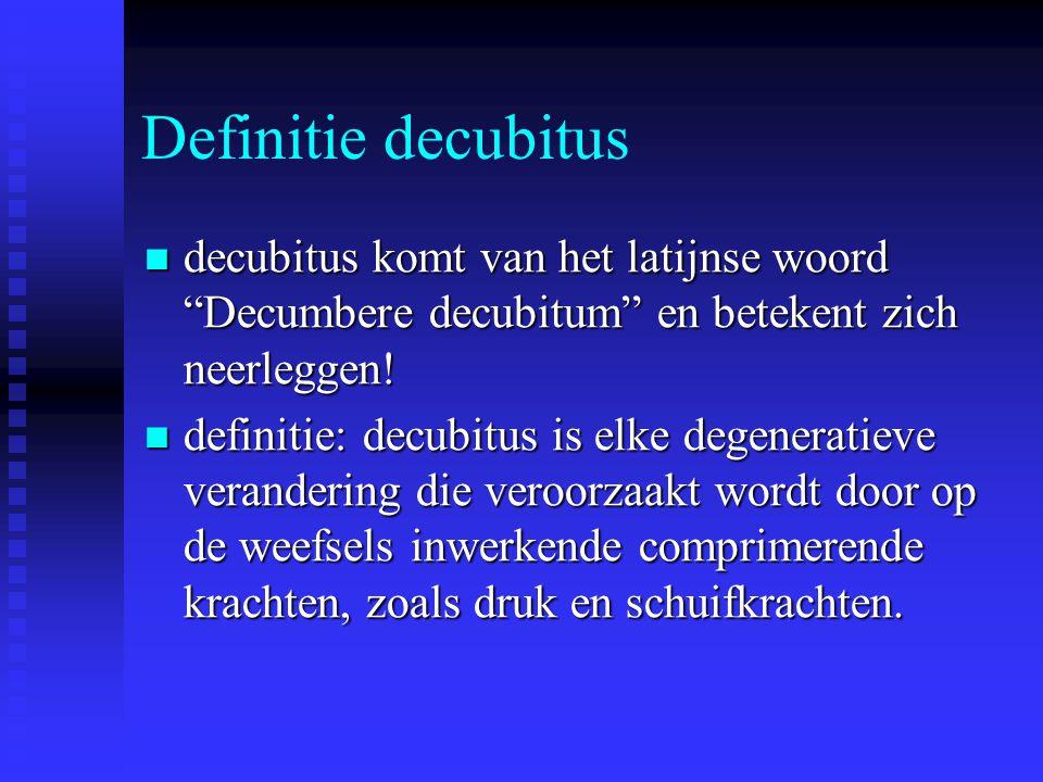 Definitie decubitus decubitus komt van het latijnse woord Decumbere decubitum en betekent zich neerleggen!