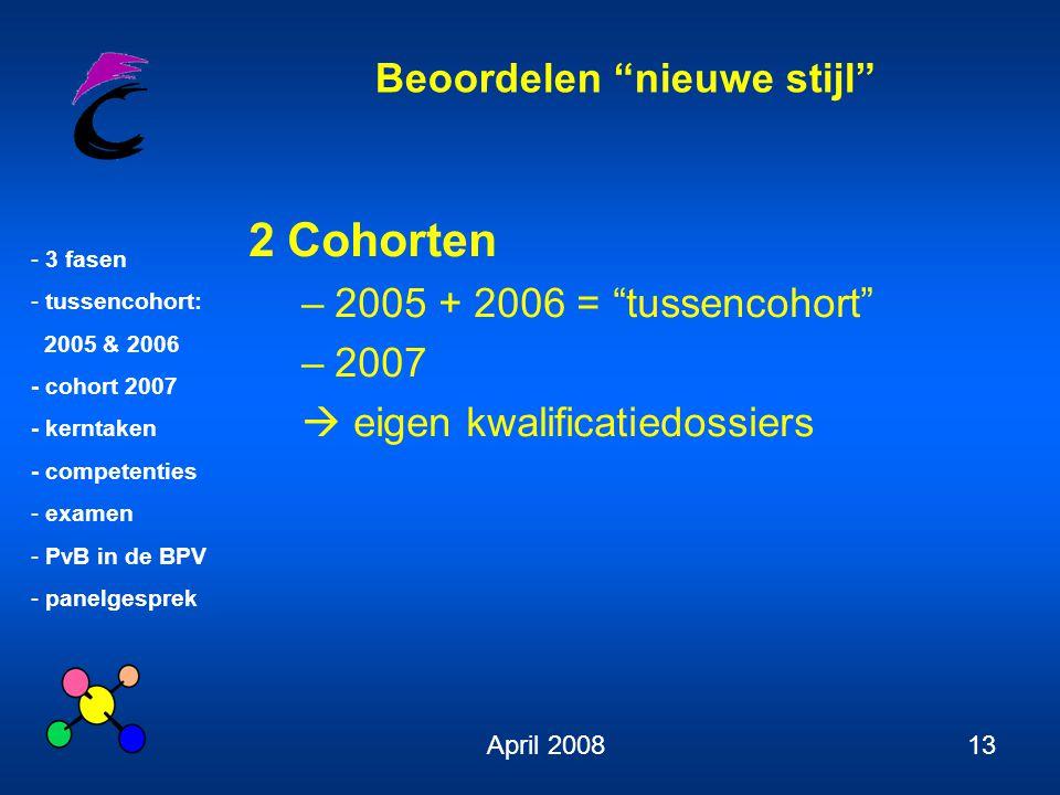 2 Cohorten 2005 + 2006 = tussencohort 2007