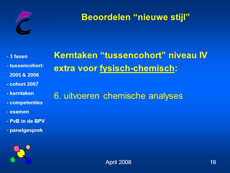 Kerntaken tussencohort niveau IV extra voor fysisch-chemisch: