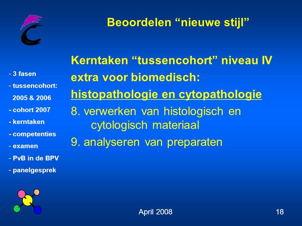Kerntaken tussencohort niveau IV extra voor biomedisch: