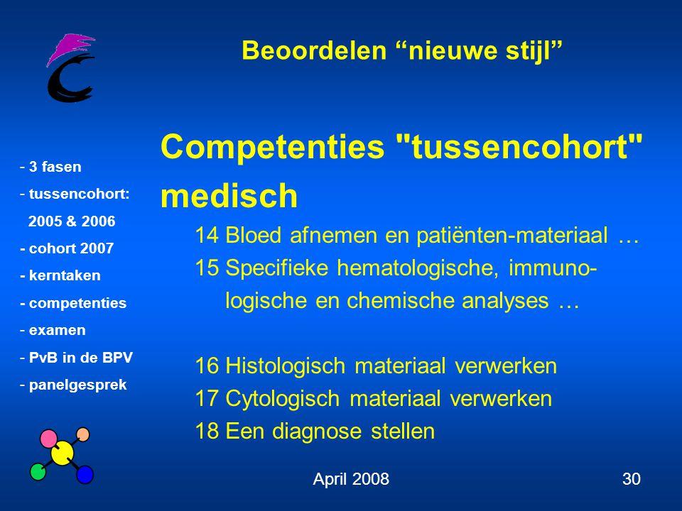 Competenties tussencohort medisch
