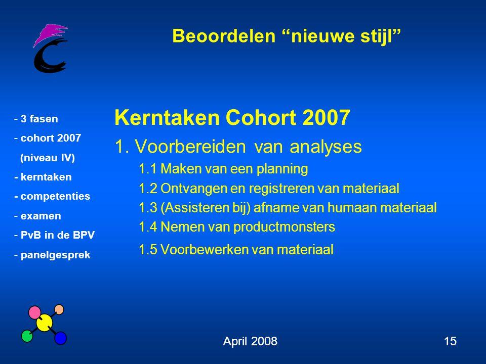 Kerntaken Cohort 2007 1. Voorbereiden van analyses