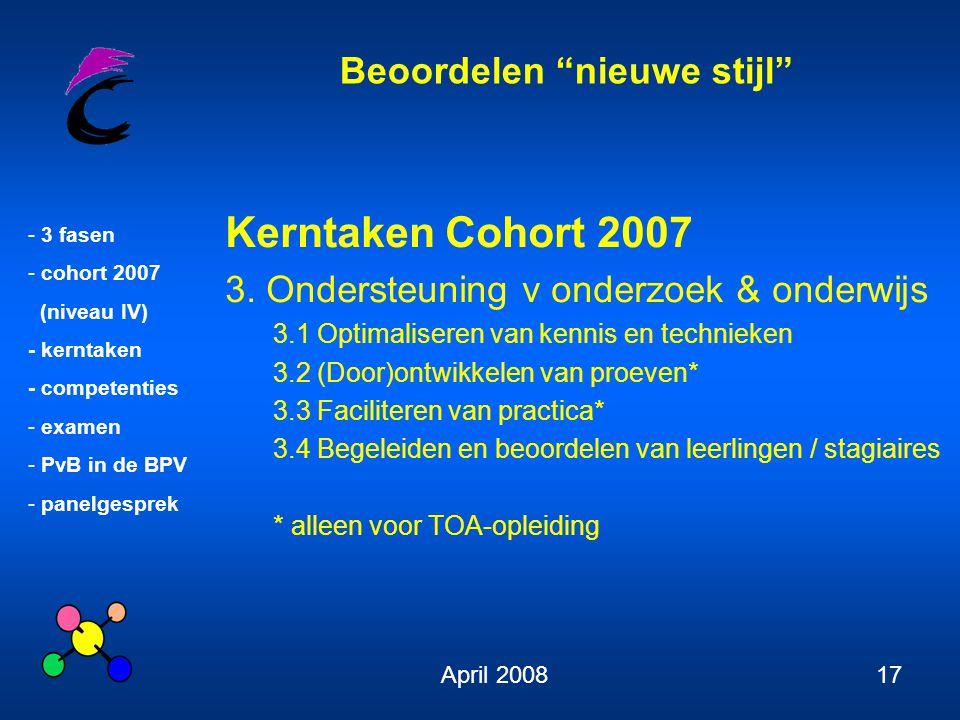Kerntaken Cohort 2007 3. Ondersteuning v onderzoek & onderwijs