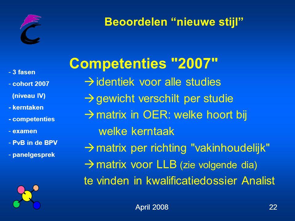 Competenties 2007 identiek voor alle studies
