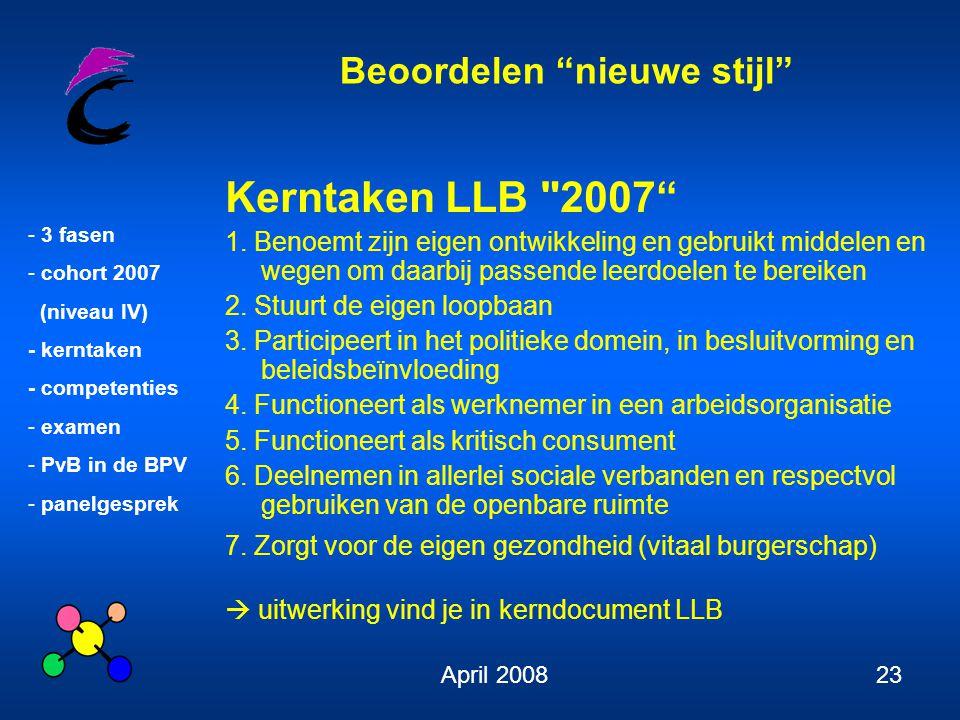 Kerntaken LLB 2007 1. Benoemt zijn eigen ontwikkeling en gebruikt middelen en wegen om daarbij passende leerdoelen te bereiken.
