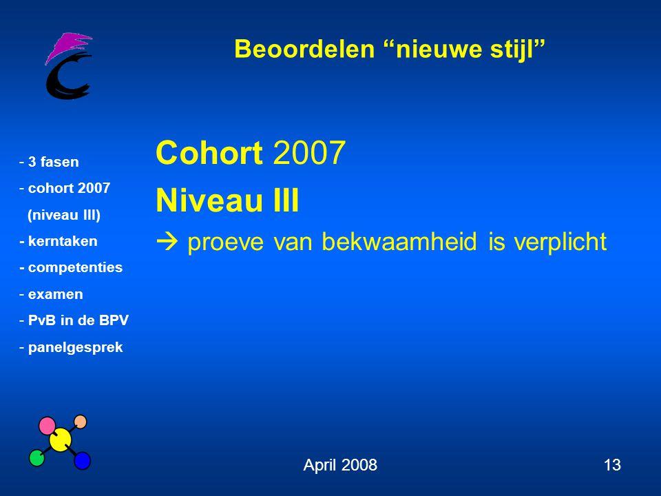 Cohort 2007 Niveau III  proeve van bekwaamheid is verplicht