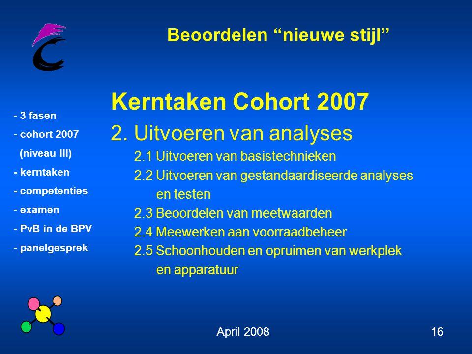 Kerntaken Cohort 2007 2. Uitvoeren van analyses