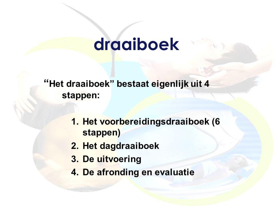 draaiboek Het draaiboek bestaat eigenlijk uit 4 stappen: