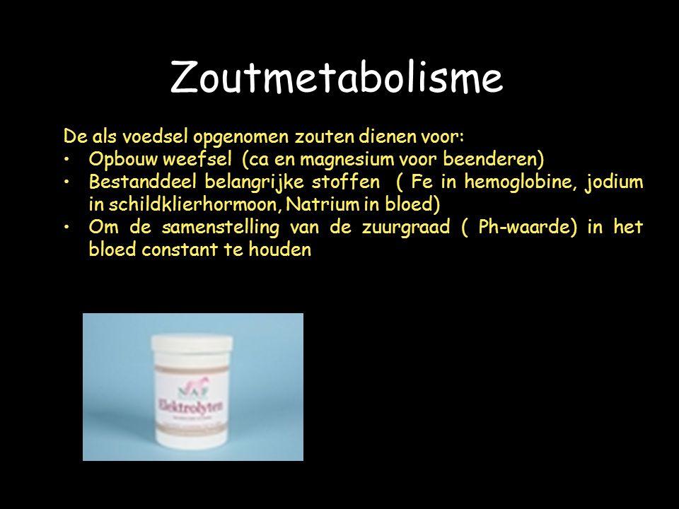 Zoutmetabolisme De als voedsel opgenomen zouten dienen voor: