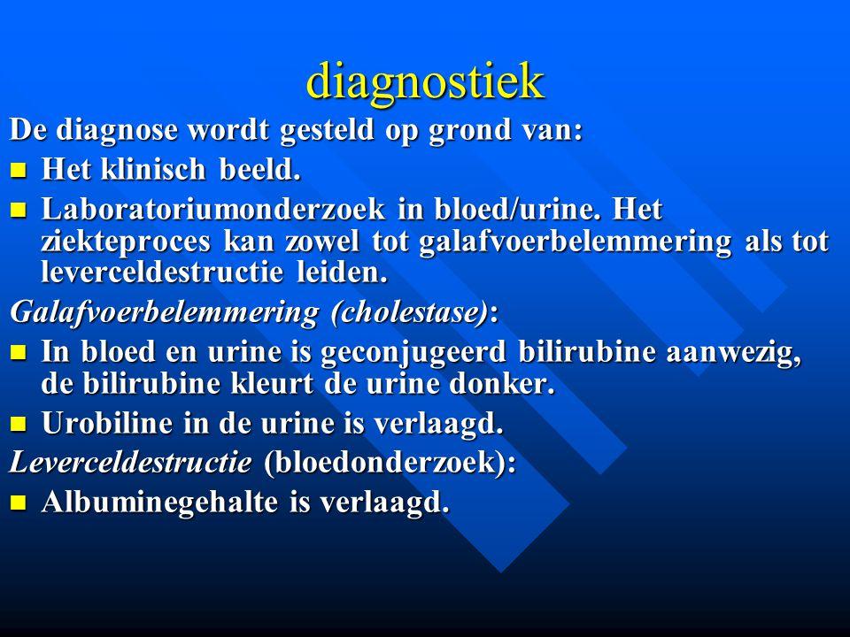 diagnostiek De diagnose wordt gesteld op grond van: