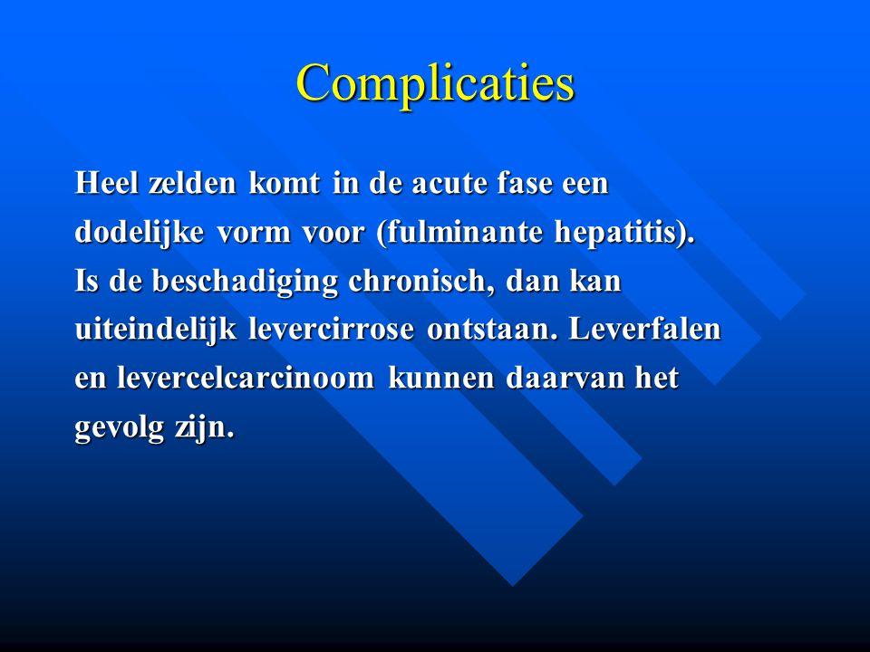 Complicaties Heel zelden komt in de acute fase een