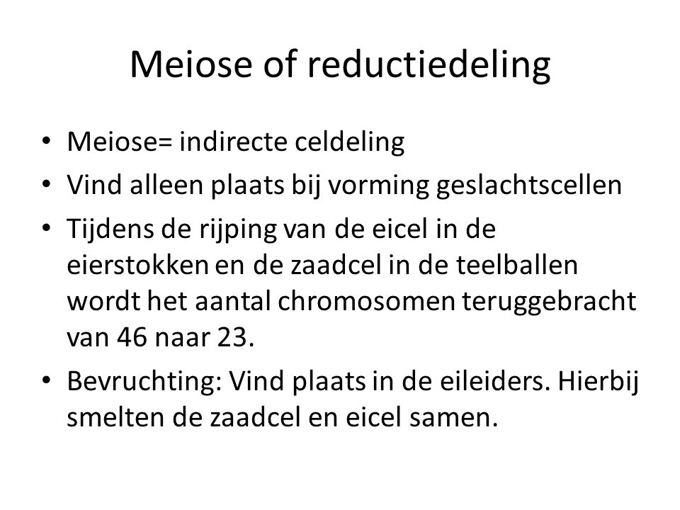 Meiose of reductiedeling
