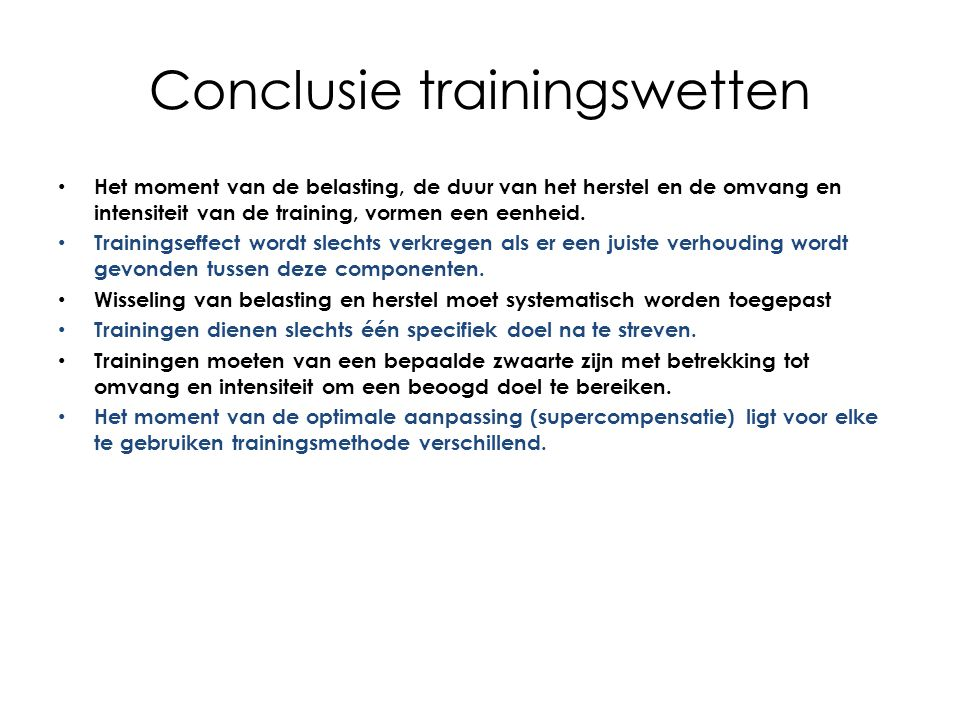 Conclusie trainingswetten