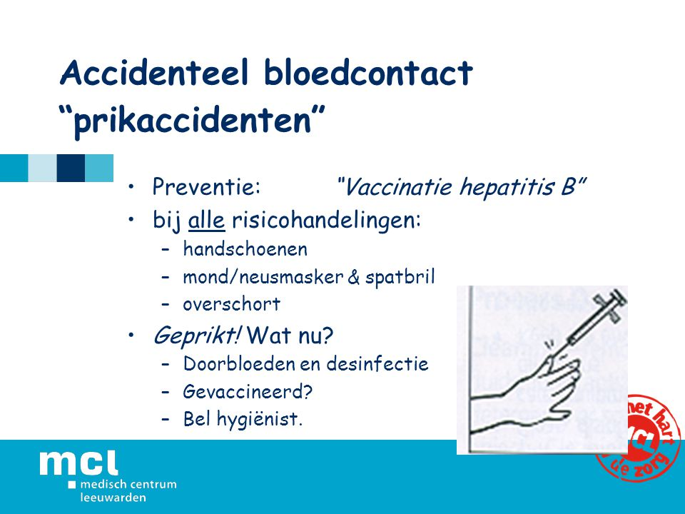 Accidenteel bloedcontact prikaccidenten