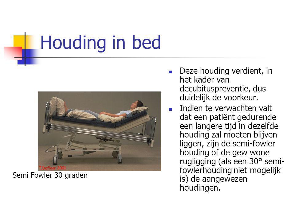 Houding in bed Deze houding verdient, in het kader van decubituspreventie, dus duidelijk de voorkeur.