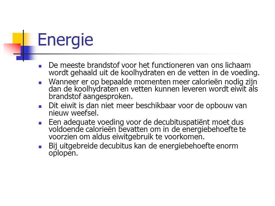 Energie De meeste brandstof voor het functioneren van ons lichaam wordt gehaald uit de koolhydraten en de vetten in de voeding.