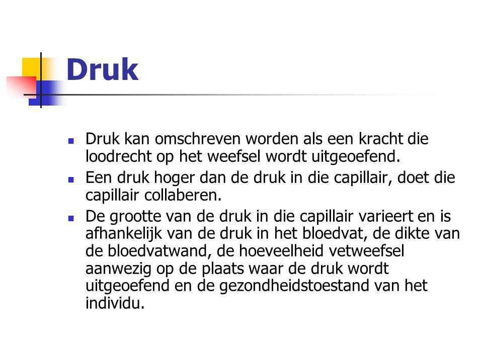 Druk Druk kan omschreven worden als een kracht die loodrecht op het weefsel wordt uitgeoefend.