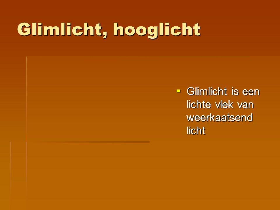 Glimlicht, hooglicht Glimlicht is een lichte vlek van weerkaatsend licht