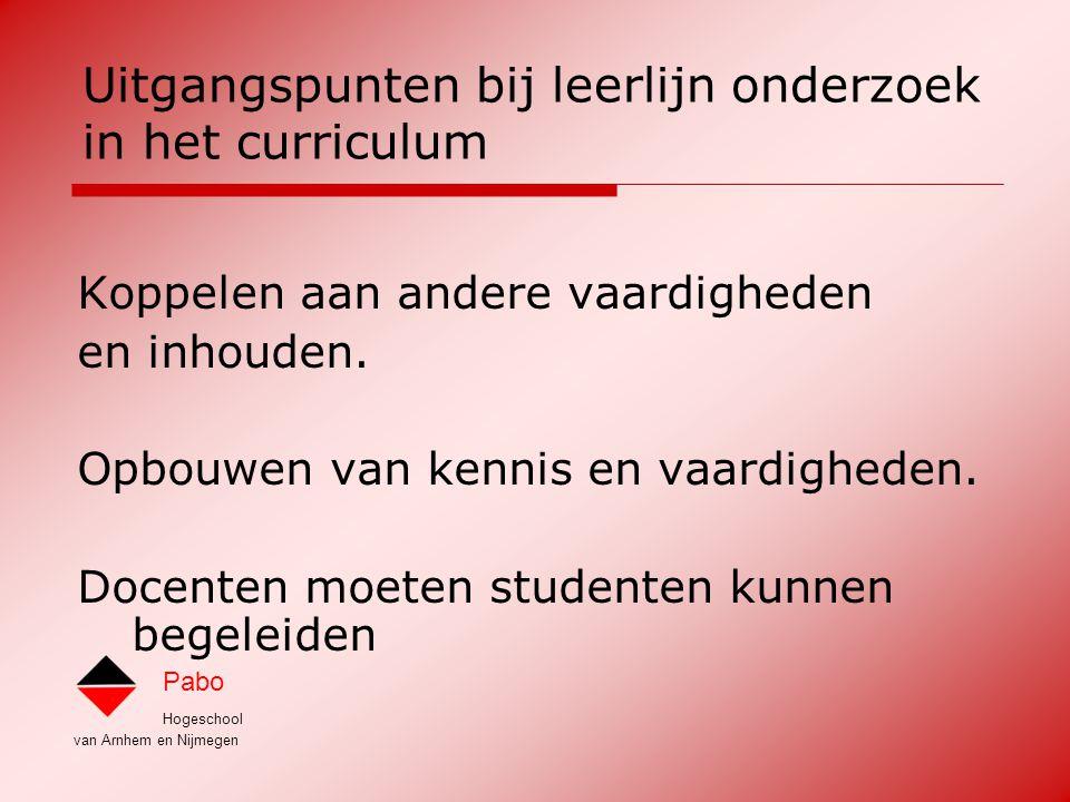 Uitgangspunten bij leerlijn onderzoek in het curriculum