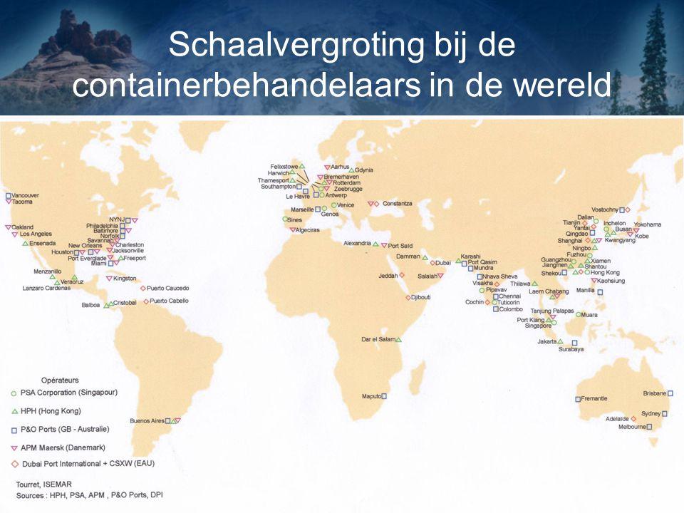 Schaalvergroting bij de containerbehandelaars in de wereld