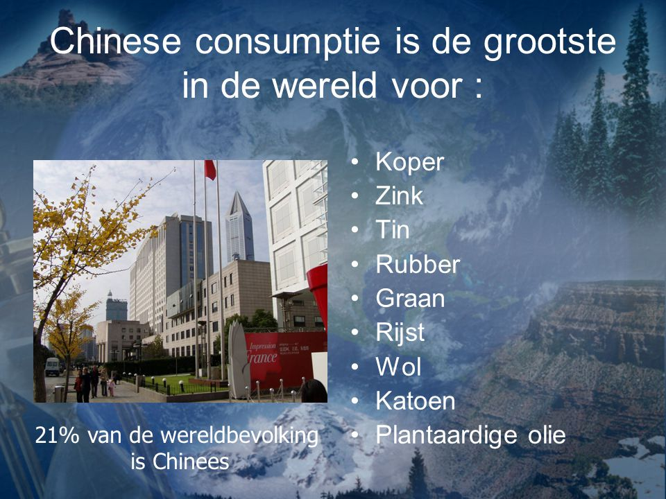 Chinese consumptie is de grootste in de wereld voor :