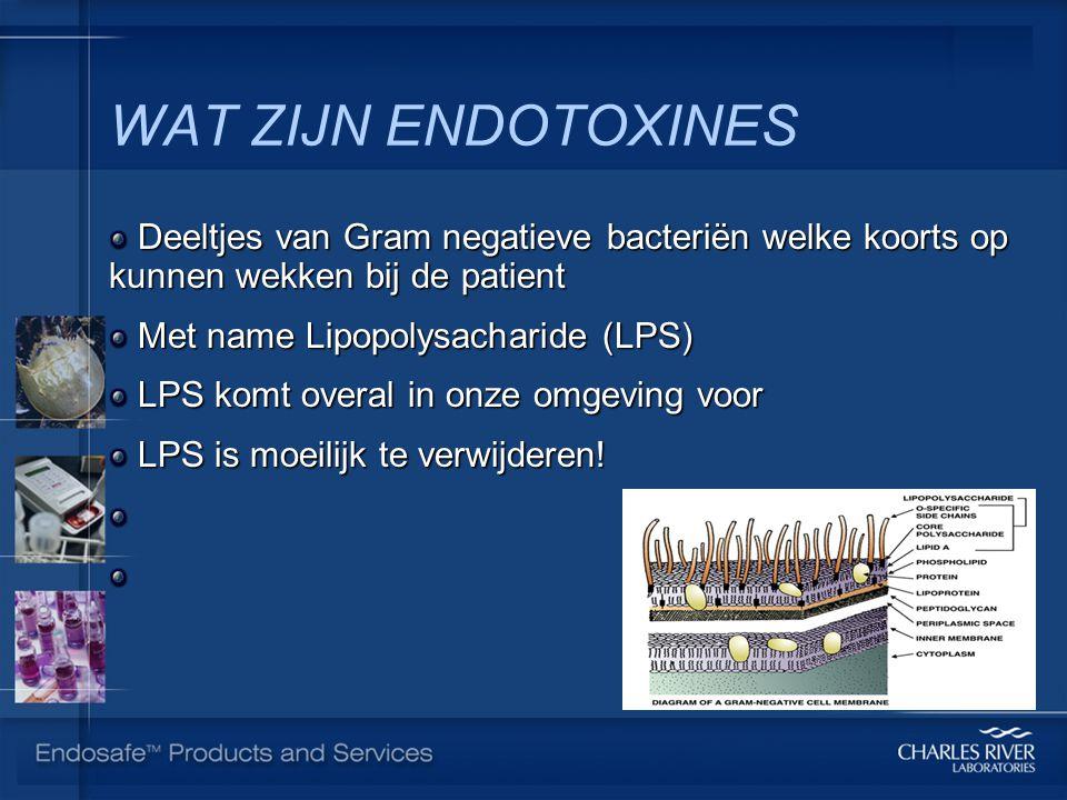 WAT ZIJN ENDOTOXINES Deeltjes van Gram negatieve bacteriën welke koorts op kunnen wekken bij de patient.