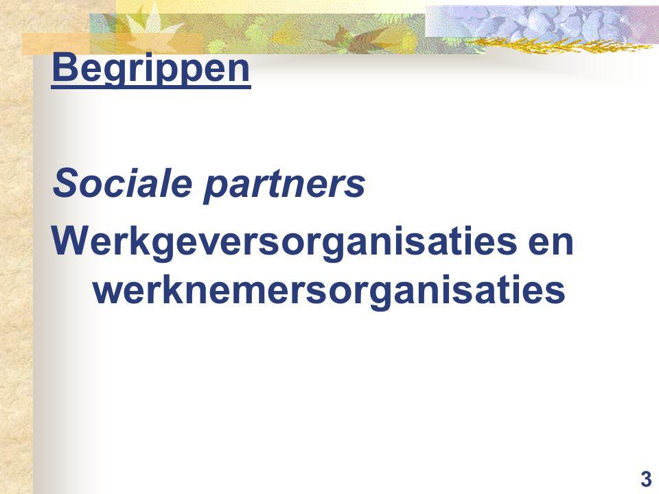 Begrippen Sociale partners Werkgeversorganisaties en werknemersorganisaties