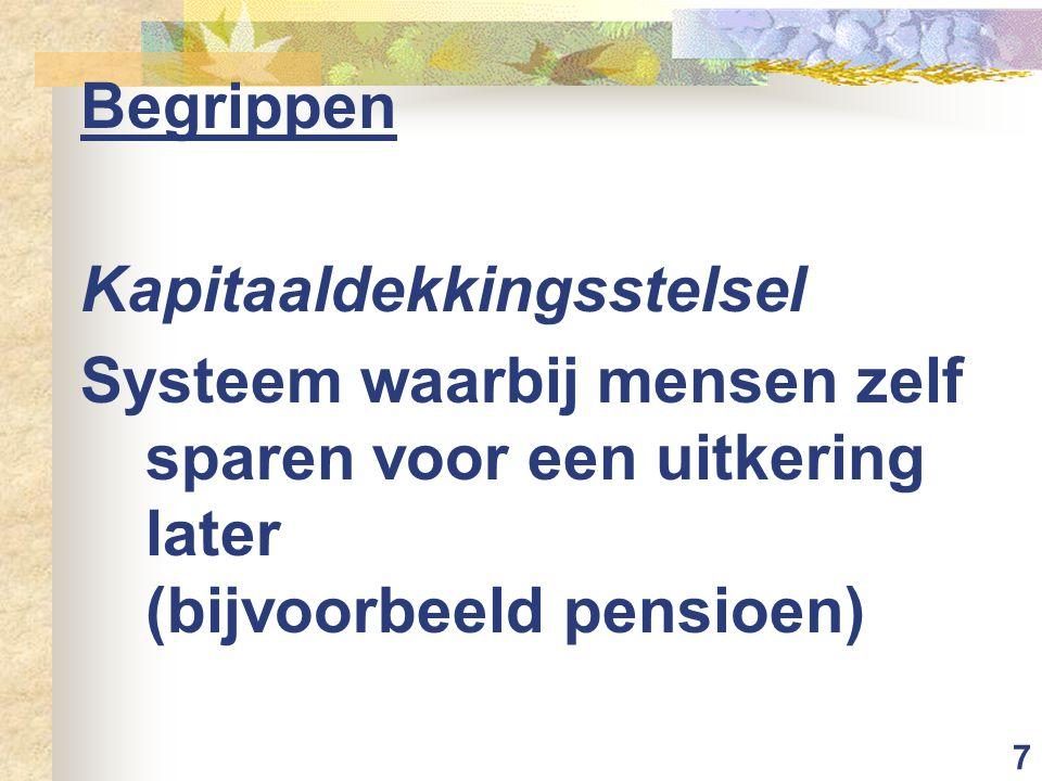 Begrippen Kapitaaldekkingsstelsel.