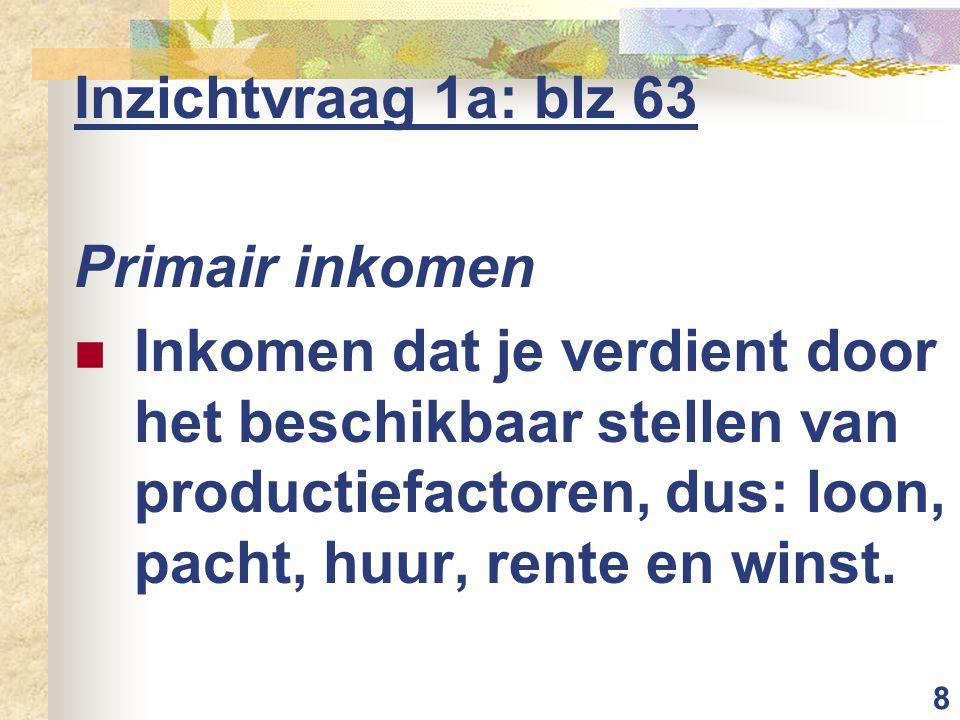 Inzichtvraag 1a: blz 63 Primair inkomen.