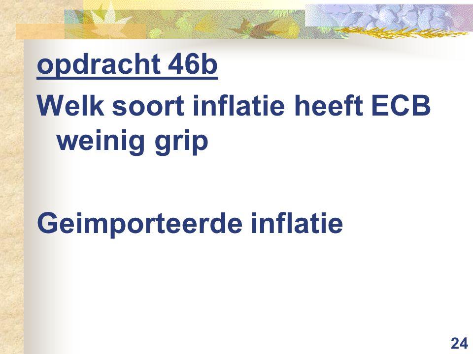 opdracht 46b Welk soort inflatie heeft ECB weinig grip Geimporteerde inflatie