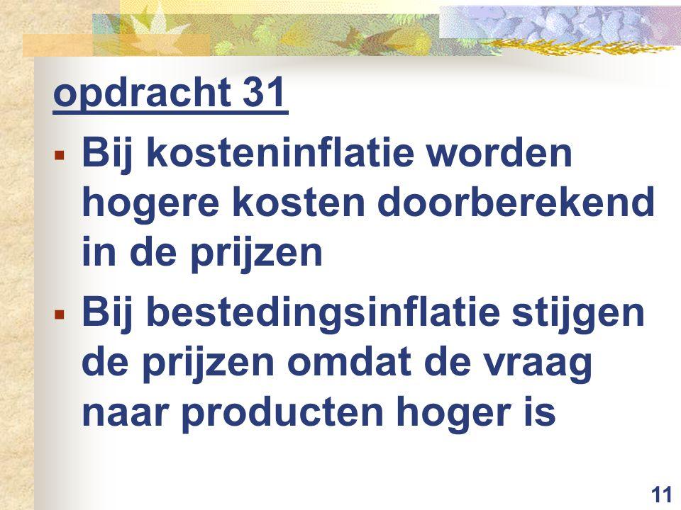 opdracht 31 Bij kosteninflatie worden hogere kosten doorberekend in de prijzen.