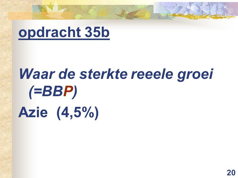 opdracht 35b Waar de sterkte reeele groei (=BBP) Azie (4,5%)