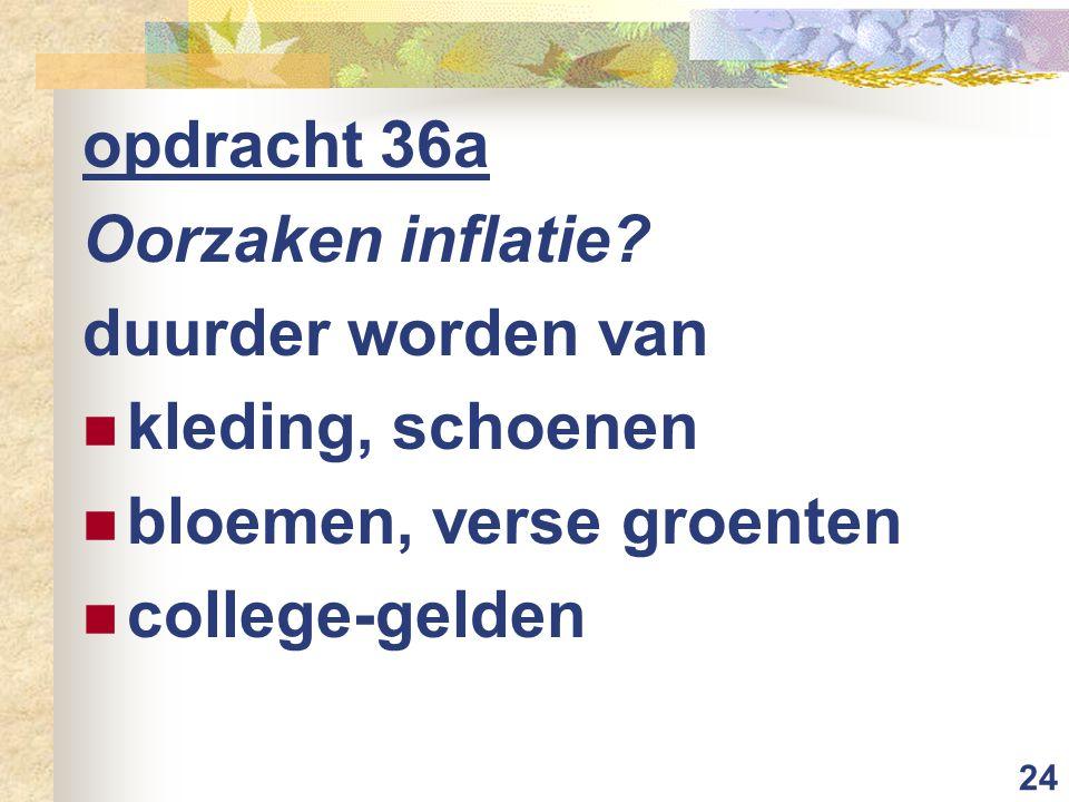 opdracht 36a Oorzaken inflatie. duurder worden van.