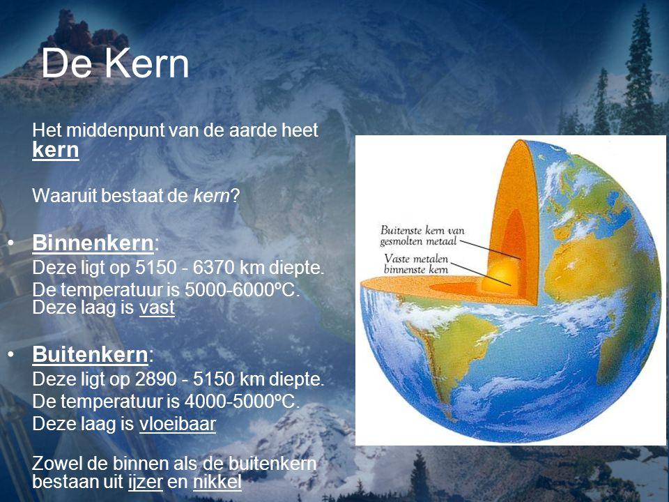 De Kern Binnenkern: Buitenkern: Het middenpunt van de aarde heet kern
