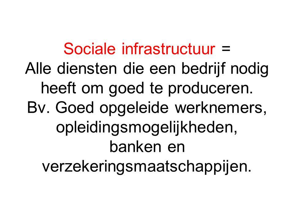 Sociale infrastructuur = Alle diensten die een bedrijf nodig heeft om goed te produceren.