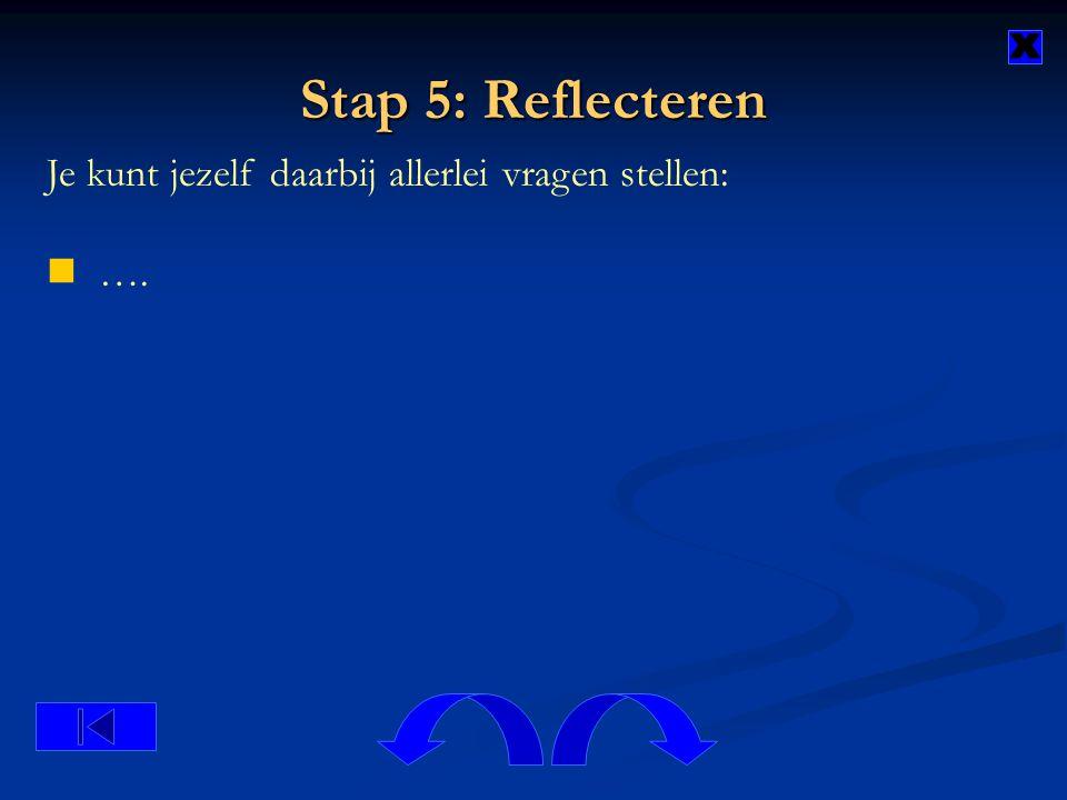 Stap 5: Reflecteren x Je kunt jezelf daarbij allerlei vragen stellen: