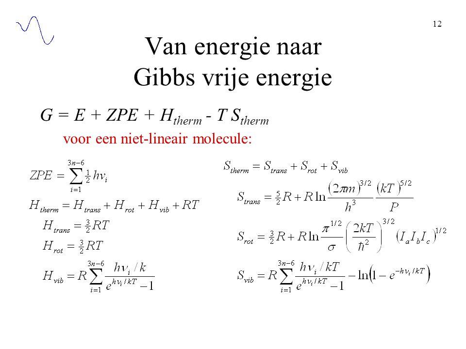 Van energie naar Gibbs vrije energie