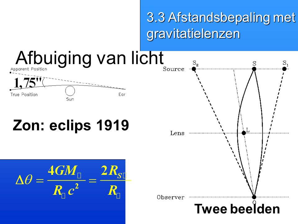 Afbuiging van licht Zon: eclips 1919 3.3 Afstandsbepaling met